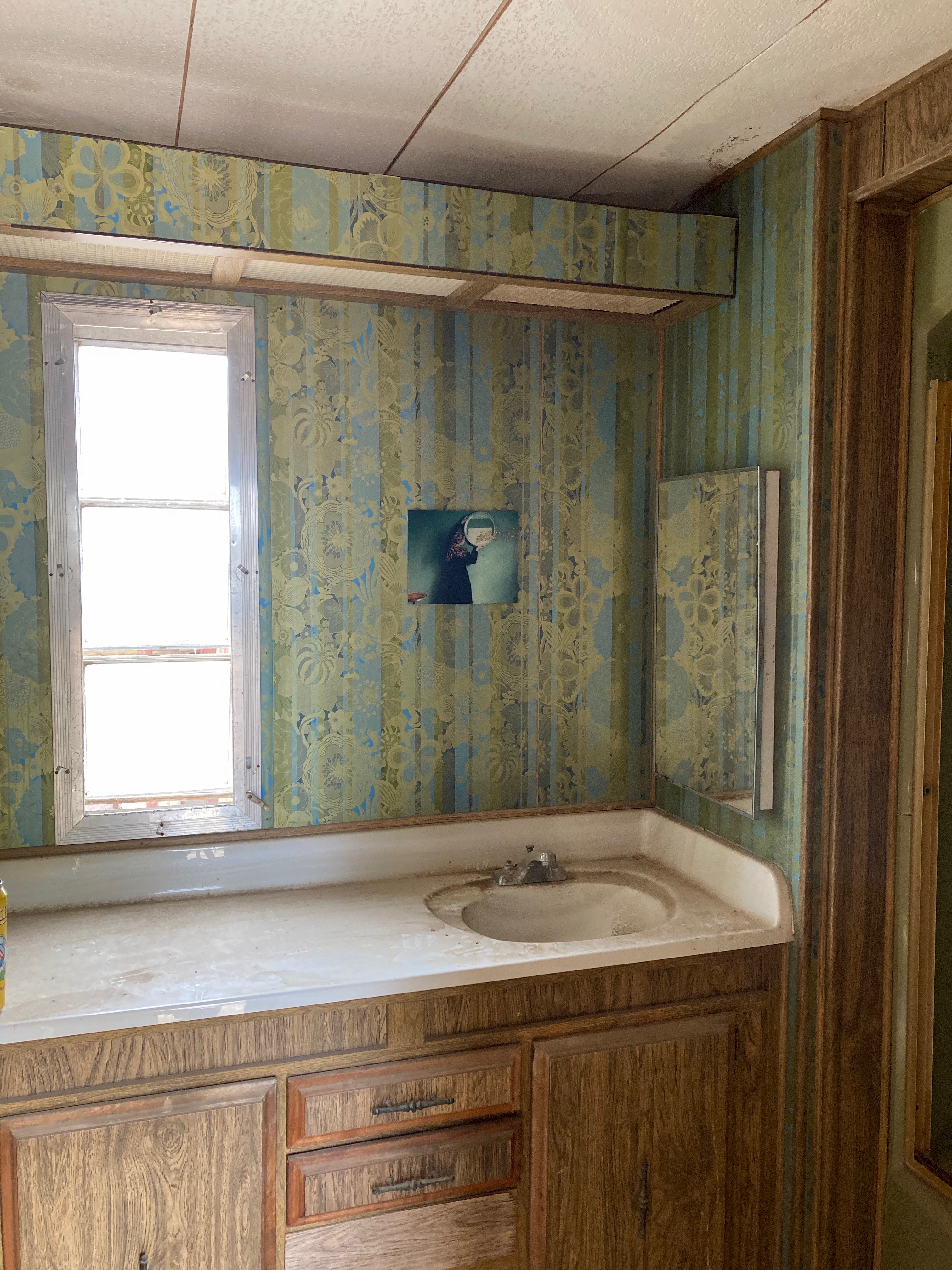 a decaying yet opulently wallpapered trailer bathroom